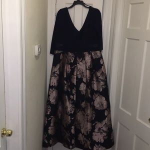 Xscape Dresses - Navy Blue and Blush Plus Size Evening Gown